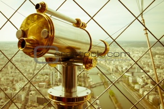 Beautiful scene in the Eiffel Tower with a view of Paris