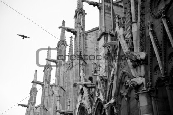 Old looking picture of the Notre Dame architecture detail