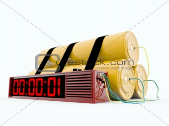 bomb with digital timer isolated on white background_2