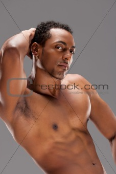 Portrait of a naked muscular man