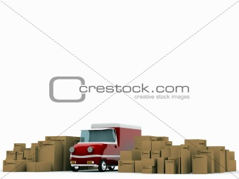 cardboard boxeas and old red truck