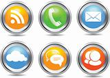 Metallic stylish modern communication icon set