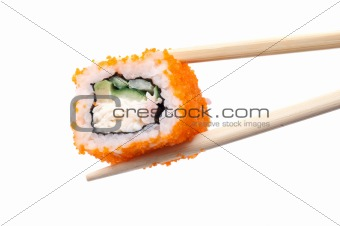 Sushi and chopsticks on white