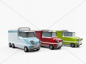old trucks isolated on white background