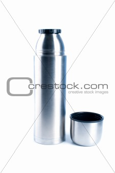 Metal thermos.