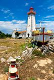 lighthouse on mediterranean coastline