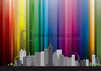city with rainbow
