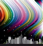 city with rainbow