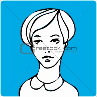Cartoon young beauty woman face one of a series of similar image
