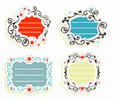 Label vintage Blank frames-stickers Retro style
