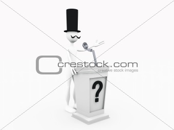 lord speaks to a rally isolated on white background