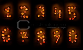 Candles numbers. Background.