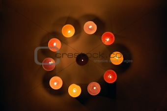 Candles circle. Background.