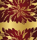 Red floral lace borders on golden background