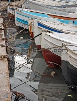 Fish boats at port.