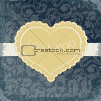 Golden vintage gift card with heart shaped copyspace.