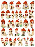 cartoon latin alphabet consists of houses