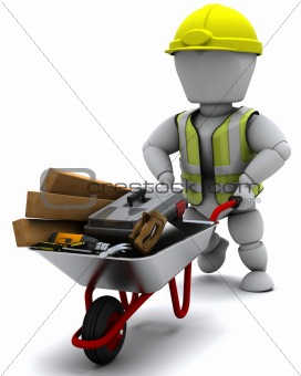 Builder with a wheel barrow carrying tools