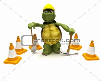 tortoise with a spade and pick axe with hazard cones