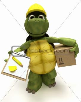 tortoise builder receiving a parcel