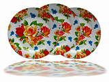 Brighr floral decorated dish plate on white background