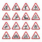 Set of three-dimensional Warning Hazard Signs