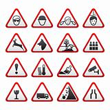 Triangular Warning Hazard  Signs set