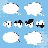 Cartoon Eyes Set of vector cartoon eyes and speech bubbles