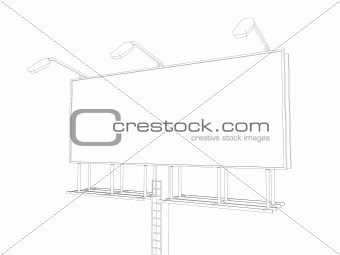 sketch billboard isolated on white background