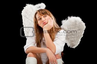 beautiful blonde angel woman