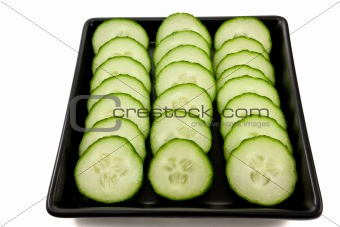 Sliced cucumber on a black plate