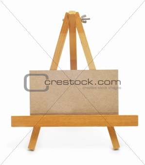 blank paper label in an easel