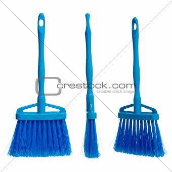 Three plasticblue brooms