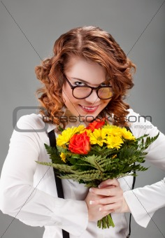 woman with a bouquet of flowers