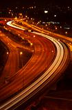 light trail at the busy highway