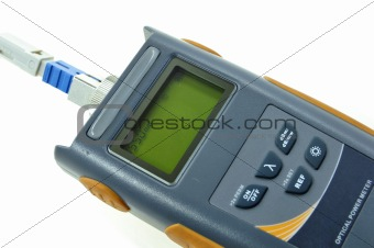 Close up of Optical Power Meter isolated on white background.