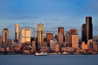 Seattle downtown Waterfront skyline at dusk