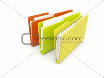 Three folders isolated on white
