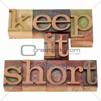 keep it short in letterpress type