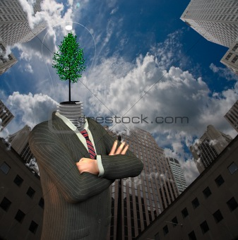 Green idea man in city