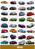 Big set of 32 kinds cars on the road. Vector illustration