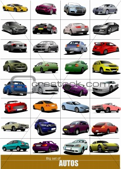 Big set of 32 kinds cars on the road. Vector illustration
