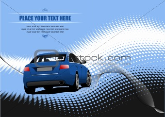 Blue colored car sedan on the road. Vector illustration