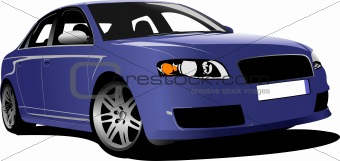 Blue car on the road. Colored Vector illustration for designers