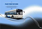 Blue dotted background with city bus image. Vector illustration