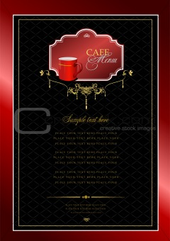 Cafe menu with red cup image. Vector illustration