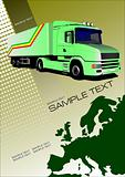 Cover for brochure or template with Europe silhouette and truck