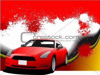 Grunge abstract hi-tech  background with car coupe image. Vector