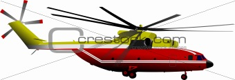 Air force. Red-yellow helicopter. EPS10 Vector illustration