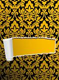 Damask seamless background with hole